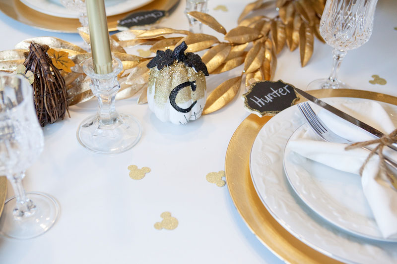 Gold and White Mickey Thanksgiving Table Decor